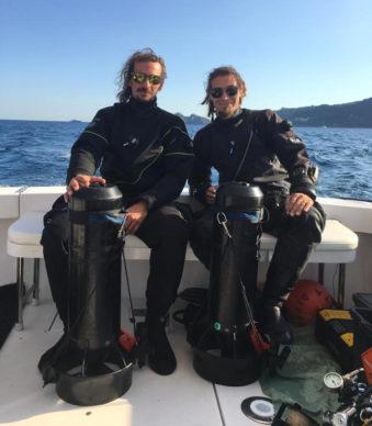I due scopritori Edoardo Sbaraini e Gabriele Succi del Rasta Divers. Crediti Rasta Divers snc