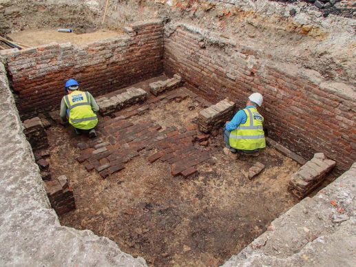 Working shot inside beer cellar. Credit UCL Archaeology South-East