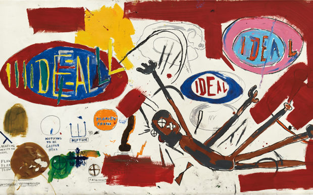 Jean-Michel Basquiat, 1960-1988. Victor 25448. Acrylic, oilstick, wax and crayon on paper laid on canvas. 72 x 131 in. (182.9 x 332.7 cm). Executed in 1987. Valued at $10 million