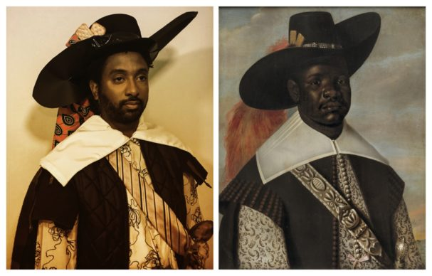 Jaspar Beckx, Portrait of Don Miguel de Castro, emissary of Congo (1643). Dressed in accordance with Portuguese fashion. Reworked by Peter Brathwaite with West African fabric, cream crackers, and serving spoon. Rediscovering #blackportraiture through #gettymuseumchallenge. #gettychallenge. This painting of Don Miguel de Castro was commissioned along with portraits of his servants, Pedro Sunda and Diego Bemba