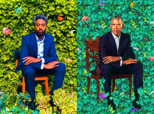 Kehinde Wiley, President Barack Obama (2018). Wiley's portrait includes flowers from Kenya, flowers from Hawaii and the state flower of Chicago. Reworked by Peter Brathwaite with body exfoliate puff sponges. Rediscovering #blackportraiture through #gettymuseumchallenge. #gettychallenge