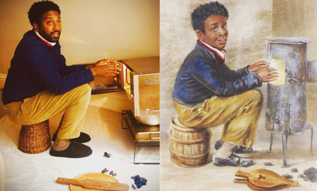 """William Henry Hunt, Originally exhibited as """"Jim Crow"""", but re-titled """"Master James Crow – out of his element"""" (1840). Reworked by Peter Brathwaite with microwave oven and gradpap's cou cou stick. Rediscovering #blackportraiture through #gettymuseumchallenge. #gettychallenge"""