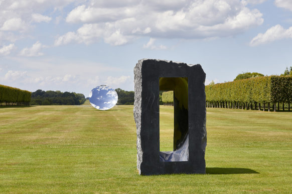 Untitled, 1997, Kilkenny limestone. Courtesy the artist. Sky Mirror, 2018, stainless steel. Courtesy the artist and Lisson Gallery. © Anish Kapoor. All rights reserved DACS, 2020 Photo: Pete Huggins