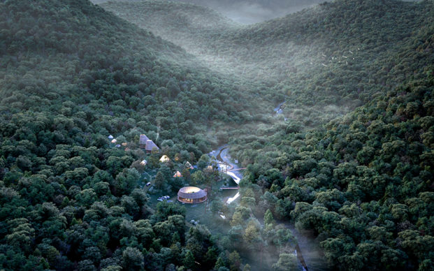 Bird View of Sustainable Site in Inabe Mountains ©Third Nature | Structured Environment | Henrik Innovation