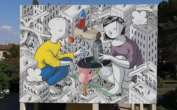 Balance, il murale di Millo nell'ambito del festival Non solo murales a San Gavino Monreale