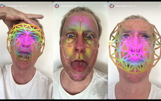 Screenshot of Facewreck Instagram face filter created by Tony Oursler, 2020 With technical support from Katharine Wimett. Courtesy Tony Oursler and Lehmann Maupin, New York, Hong Kong, and Seoul