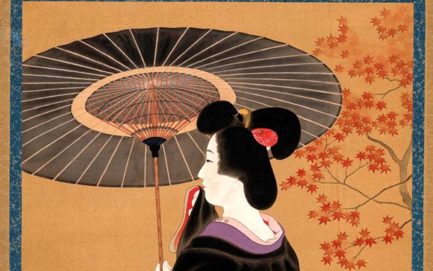 Kaburagi Kiyokata, 1878-1972. Una geisha con parasole, sotto un acero con foglie autunnali. 1920-1939. Dipinto a inchiostro e colori su seta 45,7×50,9 cm. Collezione Perino © 2020 MUSEC/Fondazione culture e musei, Lugano
