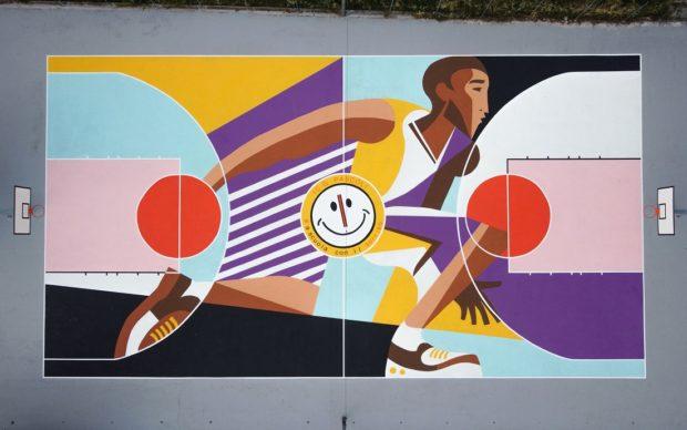 """Matera, il campo da basket """"Olimpia Playground Kobe Bryant"""", situato nel giardino """"Spighe bianche"""" della scuola media dell'I.C. Pascoli. Foto Andrea Scida"""