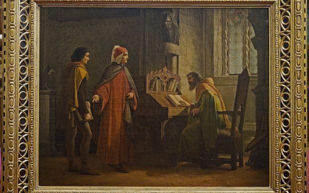 Mochi-Dante che presenta Giotto a Guido Novello da Polenta