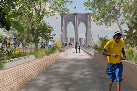 Reimagining Brooklyn Bridge— Pilot Projects Design Collective, Cities4Forests, Wildlife Conservation Society, Grimshaw and Silman; New York and Montreal. Courtesy Van Alen Institute