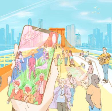 Reimagining Brooklyn Bridge— Bridge X — ScenesLab + Minzi Long + Andrew Nash; New York, Boston, and Vienna. Courtesy Van Alen Institute