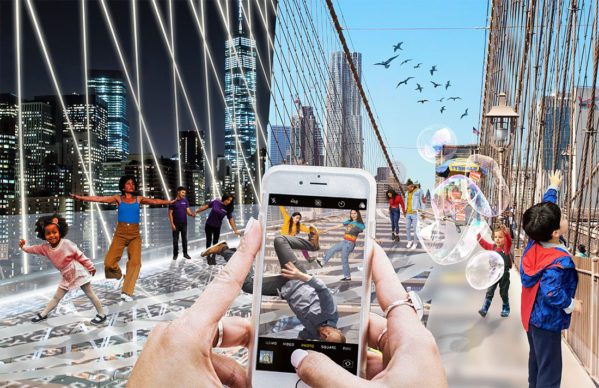 Reimagining Brooklyn Bridge— Do Look Down — Shannon Hui, Kwans Kim, and Yujin Kim; Hong Kong, Bay Area, CA, and New York. Courtesy Van Alen Institute