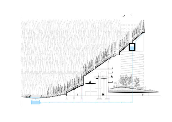 The existing tribunes will transform in green terraced allowing trees to be planted. Copyrights Angelo Renna