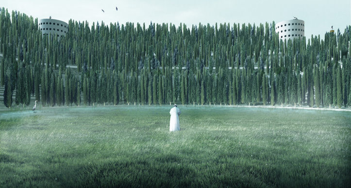 The 35.000 cypresses will surround the visitors entering the stadium. Copyrights Angelo Renna