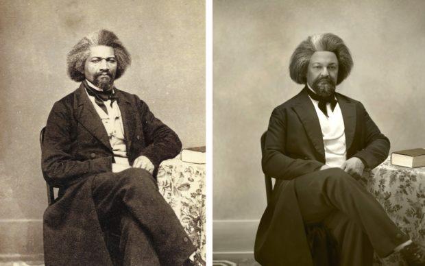 a sinistra Frederick Douglass immortalato da Edwin Burke Ives e Reuben L. Andrews, courtesy of Hillsdale College; a destra Kenneth Morris, courtesy Smithsonian magazineDrew Gardner