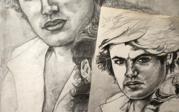 Dawn Mellor, Studies of George Michael and Andrew Ridgeley, 1984-5, courtesy Dawn Mellor