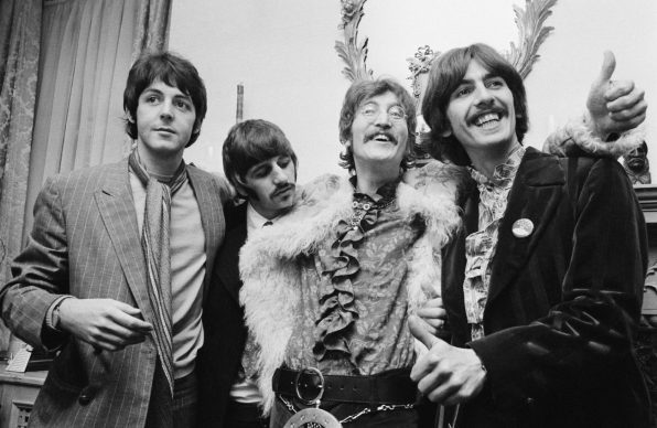 The Beatles at the press launch for their new album 'Sergeant Pepper's Lonely Hearts Club Band', held at Brian Epstein's house at 24 Chapel Street, London, 19th May 1967. Left to right: Paul McCartney, Ringo Starr, John Lennon (1940 - 1980) and George Harrison (1943 - 2001). (Photo by John Downing/Getty Images)