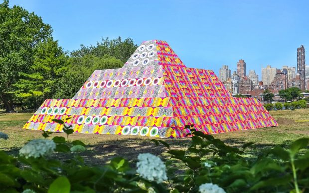 Jeffrey Gibson; 'Because Once You Enter My House It Becomes Our House;' 2020; Courtesy the Artist; Socrates Sculpture Park; Sikkema Jenkins & Co., New York; Kavi Gupta, Chicago; Roberts Projects, Los Angeles; Image by Scott Lynch