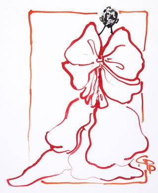 Gladys Perint Palmer, Alexis Mabille Bow, 2013. Glitter Ink Dropper, Gouache & Metallic Paint on Paper, signed, Nob Hill Gazette, 48 x 40 cm. Courtesy Gladys Perint Palmer / Gray M.C.A