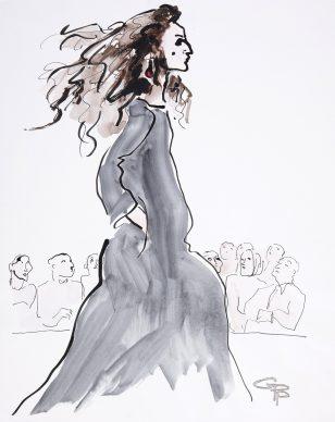 Gladys Perint Palmer, Benedetta Barzini Walks for Anna Molinari, 1998. Ink & Watercolour on Paper, signed, 1998 Vogue, 60.5 x 48 cm. Courtesy Gladys Perint Palmer / Gray M.C.A