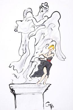 Gladys Perint Palmer, Bernini Angel Rome, Kenzo, 1994. Ink & Pastel on Paper, signed, Grazia Italy July 1994, 58.5 x 44 cm. Courtesy Gladys Perint Palmer / Gray M.C.A