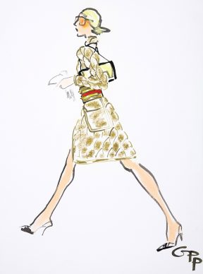 Gladys Perint Palmer, Karl Lagerfeld for Chanel, 2000. Ink, Watercolour & Pastel on Paper, signed, Vogue Germany 2000, 54 x 40 cm. Courtesy Gladys Perint Palmer / Gray M.C.A