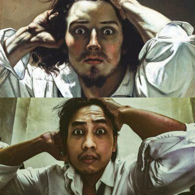 Gustave Courbet, The Desperate Man (Self-Portrait), 1843–45; Re-creation Peter Adam Rebadomia