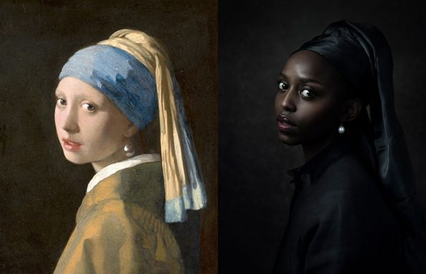 Johannes Vermeer, Girl with a Pearl Earring, ca. 1665; Re-creation Jenny Boot