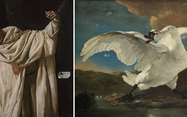The researchers were inspired by an unlikely, yet similar pairing: Francisco de Zurbarán's, The Martyrdom of Saint Serapion (left) and Jan Asselijn's The Threatened Swan (right).Credit: MIT CSAIL