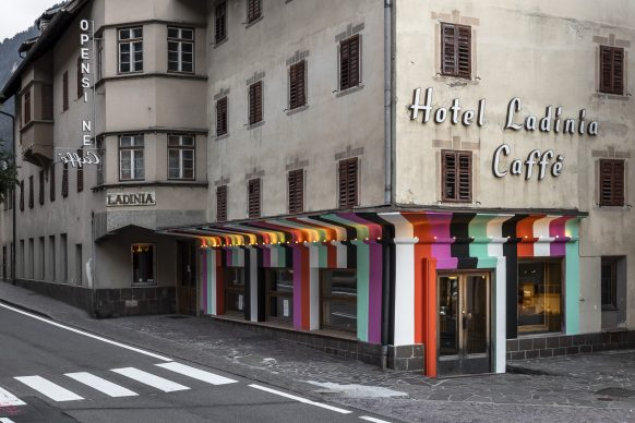 Pavel Büchler, OPEN and Lang/Baumann, Beautiful Entrance #8, 2020. View at Hotel Ladinia, Biennale Gherdëina 7. Photo Tiberio Sorvillo / L. Guadagnini