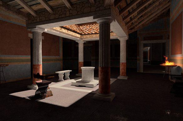 Domus di Tito Macro - Atrio (I sec d.C.). Ricostruzioni 3D realizzate a cura della Fondazione Aquileia