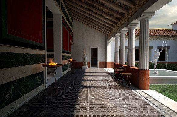 Domus di Tito Macro - Porticato del giardino (I sec d.C.). Ricostruzioni 3D realizzate a cura della Fondazione Aquileia.