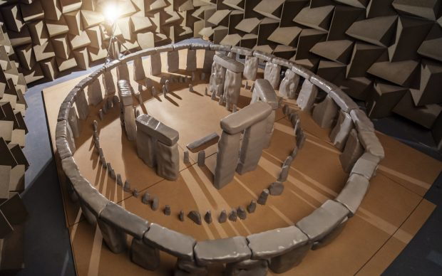 1:12 Acoustic Scale Model of Stonehenge at Acoustics Research Centre, University of Salford. Photo by Andrew Brooks. Credit: Acoustics Research Centre, University of Salford. Via Trevor Cox Flickr (CC BY-SA 2.0)