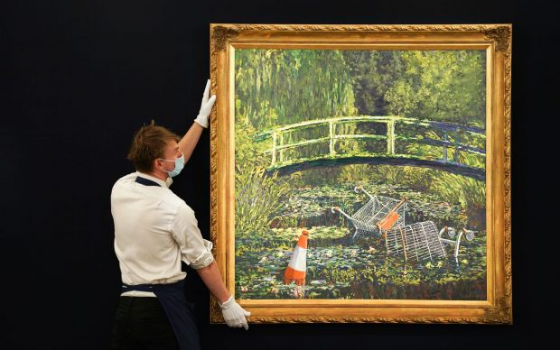 Banksy, Show me the Monet, 2005, oil on canvas, 143.1 x 143.4 cm. Estimate £3-5 million. Photo by Michael Bowles/Getty Images for Sotheby's. Copyright Sotheby's