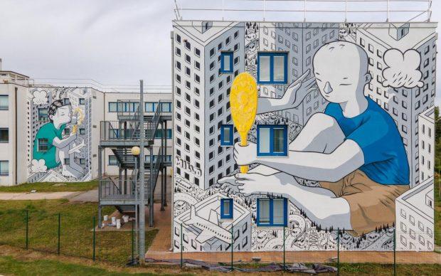 """Il murale di Millo per """"WALLABE Street Art Festival"""". Foto di Andrea Verzola"""