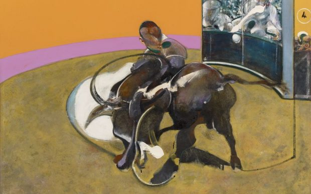 Francis Bacon, Study for Bullfight No. 1, 1969 Oil on canvas, 197.7 x 147.8 cm Private collection, Switzerland © The Estate of Francis Bacon. All rights reserved, DACSArtimage 2020. Photo Prudence Cuming Associates Ltd