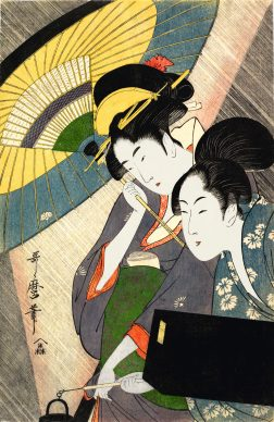 Kitagawa Utamaro, Geisha con la sua cameriera in una notte di pioggia, 1797 ca.