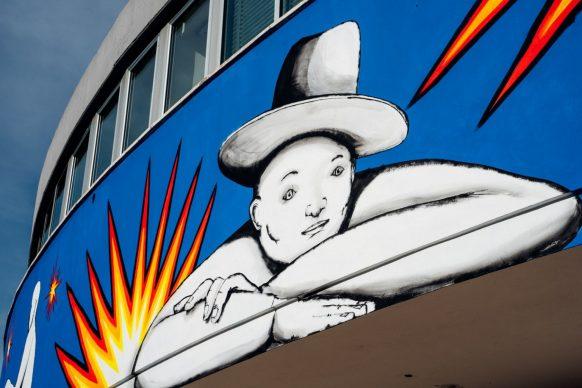 """Il murale di Run per """"WALLABE Street Art Festival"""". Foto di Andrea Verzola"""