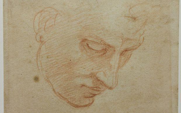 Michelangelo Buonarroti, Studio di testa per la Volta della Sistina, 1509-1510, matita rossa, mm 127 x 143. Firenze, Casa Buonarroti, inv. 47