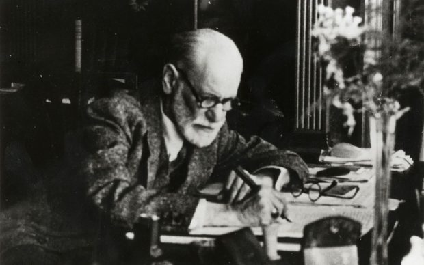 Sigmund Freud on the manuscript of Moses and Monotheism, London 1938 (c) Sigmund Freud Copyrights