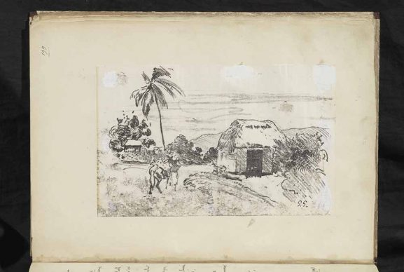 The manuscript of Avant et après by Paul Gauguin, Landscape with a hut and palm trees, traced monotype. Image © The Courtauld. All works are by Paul Gauguin