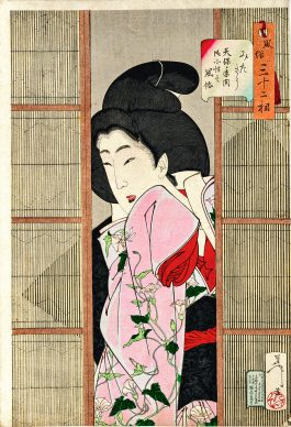 """Tsukioka Yoshitoshi, """"Curiosa: okosho del periodo Tenpo"""", Trendadue aspetti delle donne nel quotidiano, 1888"""