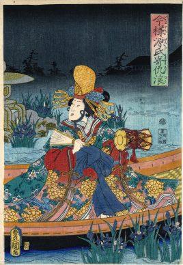 Utagawa Kunisada II, La barca di Genji, 1860