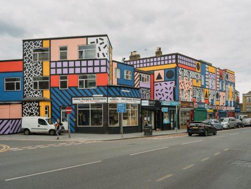 Walala Parade by Camille Walala in Leyton, London. Credit Tim Crocker and Wood Street Walls