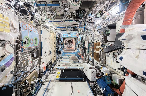 © Paolo Nespoli. Longitudinal View, from ISS Forward to ISS Aft US Laboratory – Destiny International Space Station – ISS. Low Earth Orbit, Space