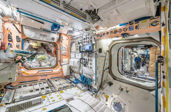 © Paolo Nespoli. View Port-Aft, with Pressurized Mating Adapter 1 (on left) and Node 3 (on right) Node 1 – Unity International Space Station – ISS. Low Earth Orbit, Space