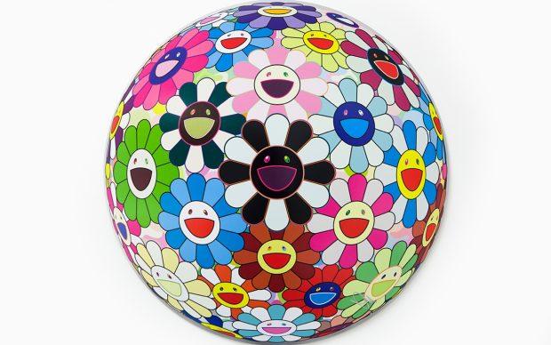 Takashi Murakami, lithographie Flowerball blood (3D), 2016, 71 cm de diamètre. Edition de 300 © Takashi MURAKAMI/Kaikai Kiki Co., Ltd. All Rights Reserved. Courtesy Perrotin