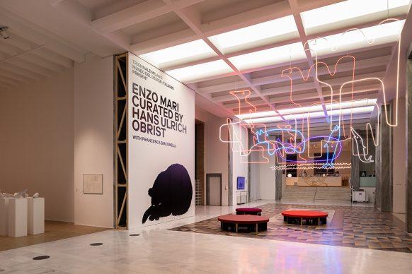 Vista dell'allestimento della mostra Enzo Mari curated by Hans Ulrich Obrist with Francesca Giacomelli. © Triennale Milano - Foto Gianluca Di Ioia
