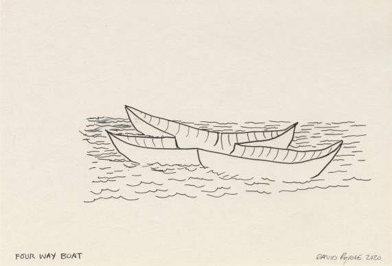 David Byrne, Four Way Boat, 2020, fadeproof waterproof ink on archival paper, 16.5 cm × 25.4 cm, paper 27.9 cm × 35.6 cm, frame No. 76190 © David Byrne, courtesy Pace Gallery