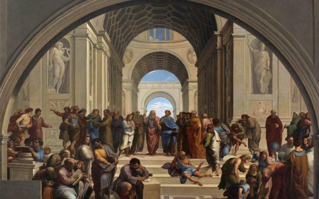 Giuseppe Bezzuoli, Scuola di Atene, 1819. Olio su tela, 167 x 227 cm. Brescia, Pinacoteca Tosio Martinengo